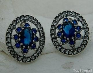 Liria - srebrne kolczyki z szafirem i kryształkami