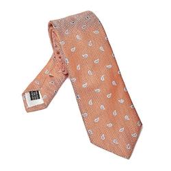 Elegancki długi pomarańczowy krawat van thorn w błękitne paisley