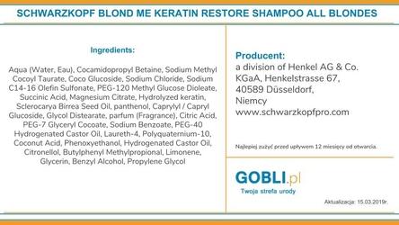 Schwarzkopf blondme keratin restore bonding, szampon wzmacnia włosy blond 1000ml