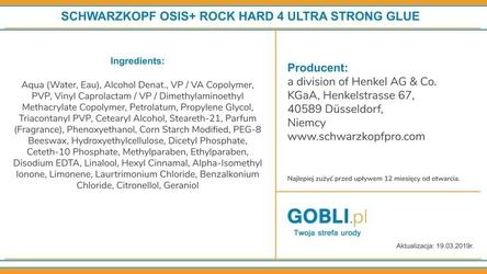 Schwarzkopf osis rock-hard, ultra mocny klej do długotrwałych stylizacji 150ml