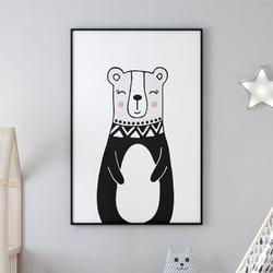 Plakat dla dzieci - miss lovely bear , wymiary - 70cm x 100cm, kolor ramki - biały