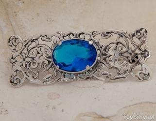 Casablanca - srebrna broszka z akwamarynem