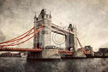Fototapeta tower bridge w londynie, anglii, wielkiej brytanii. styl vintage