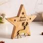 Figurka  ozdoba  dekoracja świąteczna drewniana święta boże narodzenie altom design gwiazda z brokatowym reniferem 15,5 x 2,5  x 16,5 cm