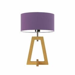 Lampka clio abażur fioletowy stelaż dębowy - fioletowy