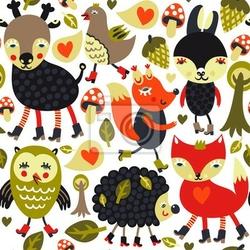 Plakat kolorowe szwu z ptaków i zwierząt leśnych