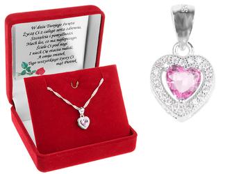 Srebrny komplet wisiorek pr. 925 serce z różową cyrkonią DEDYKACJA