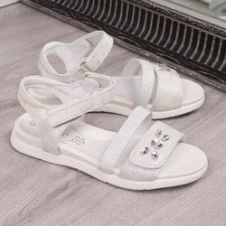 Sandały dziewczęce na rzep białe vinceza - biały