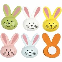 Drewniane króliki z długimi uszami - 6 sztuki