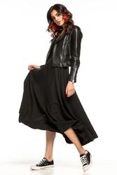 Czarna rozkloszowana midi spódnica z metalowym zamkiem