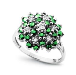 Staviori Pierścionek. 7 Diamentów, szlif brylantowy, masa 0,04 ct., barwa G, czystość SI1. 24 Szmaragdy, masa 0,78 ct.. Białe Złoto 0,585. Średnica korony ok. 15 mm. Wysokość 6 mm. Szerokość obrączki ok. 2 mm.
