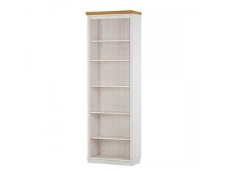 Regał sosnowy z półkami annabelle biały z wieńcem w kolorze naturalnym  74x34x219 cm