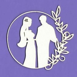 Tekturka White Wedding - młoda para w ramce