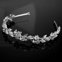 Ozdoba ślubna do włosów opaska cyrkonie srebrna