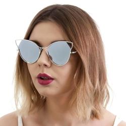 Okulary damskie lustrzanki kocie oko srebrne - srebrne