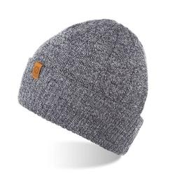 Ciepła zawijana czapka brodrene cz8 jasnoszara mulina