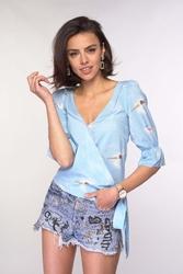 Kopertowa bluzka z wiązaniem błękitna