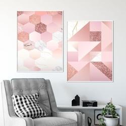 Zestaw dwóch plakatów - marble mosaic , wymiary - 50cm x 70cm 2 sztuki, kolor ramki - biały