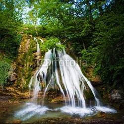 Obraz na płótnie canvas czteroczęściowy tetraptyk wodospad