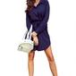 Granatowa krótka koszulowa sukienka z paskiem