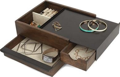 Szkatułka na biżuterię stowit ciemne drewno