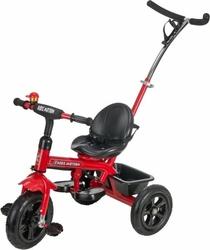 Rowerek trójkołowy z pchaczem i pompowanymi kołami tobi basic air 2 - czerwony