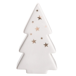 Ozdoba  dekoracja świąteczna  figurka porcelanowa dekoracyjna święta boże narodzenie altom design choinka biała ze złotymi gwiazdkami 8 x 4 x