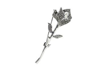 Srebrna broszka róża z markazytami