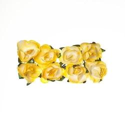 Papierowa róża do zdobieniai 8 szt - żółta - ŻÓŁ