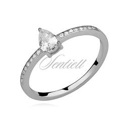 Srebrny delikatny pierścionek pr.925 cyrkonia biała łezka