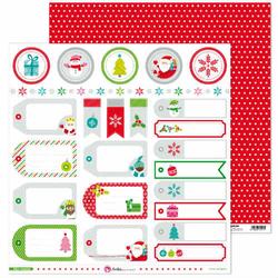 Papier Wesołych Świąt 30,5x30,5 cm - etykiety - 01