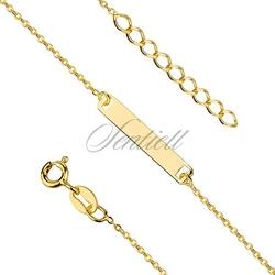 Bransoletka pozłacana łańcuszek z blaszką pr.925 z regulacją - żółte złoto