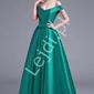 Zjawiskowa szamragdowa suknia wieczorowa z odkrytymi ramionami - sandra