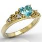 Pierścionek z żółtego złota z topazem swarovski blue i diamentami ap-5312z - żółte  topaz ice blue