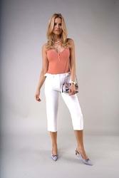 Eleganckie spodnie za kolano z prostą nogawką - ecru