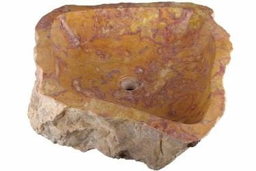 Umywalka nablatowa z naturalnego kamienia, czerwono-żółta