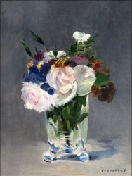 Flowers in a crystal vase, edouard manet - plakat