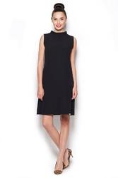 Elegancka sukienka z niskim golfem - czarny