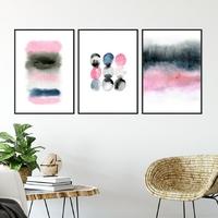 Zestaw trzech plakatów - watercolor art , wymiary - 60cm x 90cm 3 sztuki, kolor ramki - czarny