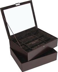 Pudełko na zegarki podwójne Stackers 18 komorowe brązowe