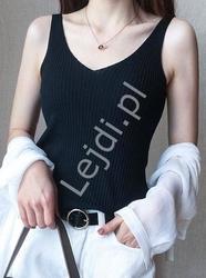 Czarna koszulka damska na ramiączkach 4339