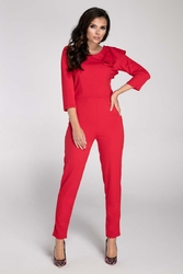 Czerwony elegancki kombinezon z falbanką na ramieniu