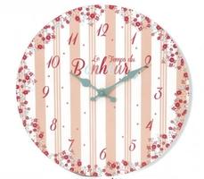 Drewniany zegar ścienny 30cm paseczki i kwiatuszki