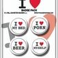 I Love - zestaw 4 przypinek