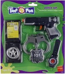 Zestaw policjanta kajdanki pistolet odznaka zegarek