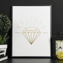 Błyszczący diament - plakat w ramie , wymiary - 60cm x 90cm, kolor ramki - biały, kolor nadruku - srebrny