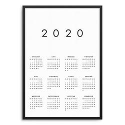 Minimalistyczny - kalendarz w ramie , wymiary - 40cm x 50cm, wersja - białe napisy + czarne tło, kolor ramki - biały