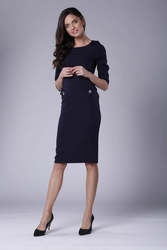 Granatowa stylowa sukienka ołówkowa z ozdobnymi guzikami