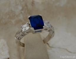 Alexis - srebrny pierścień z szafirem