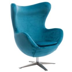 Fotel jajo velvet niebieski - niebieski